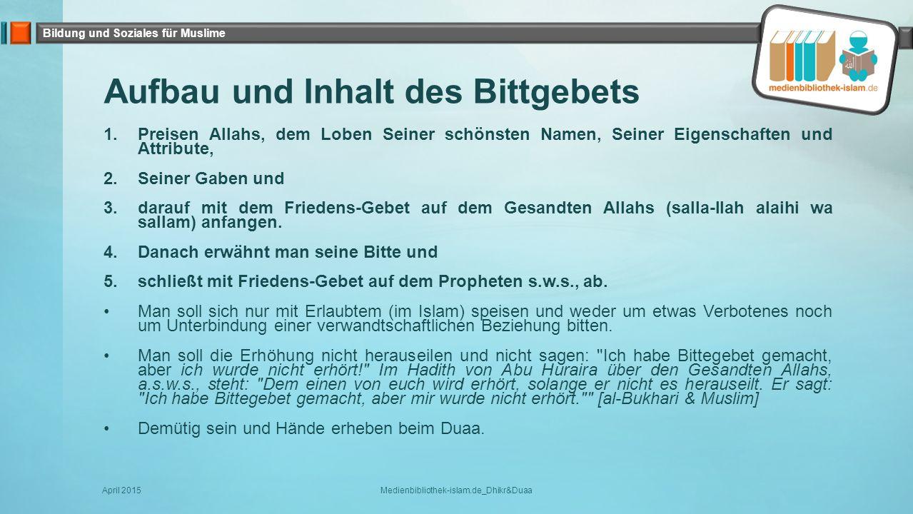 Aufbau und Inhalt des Bittgebets