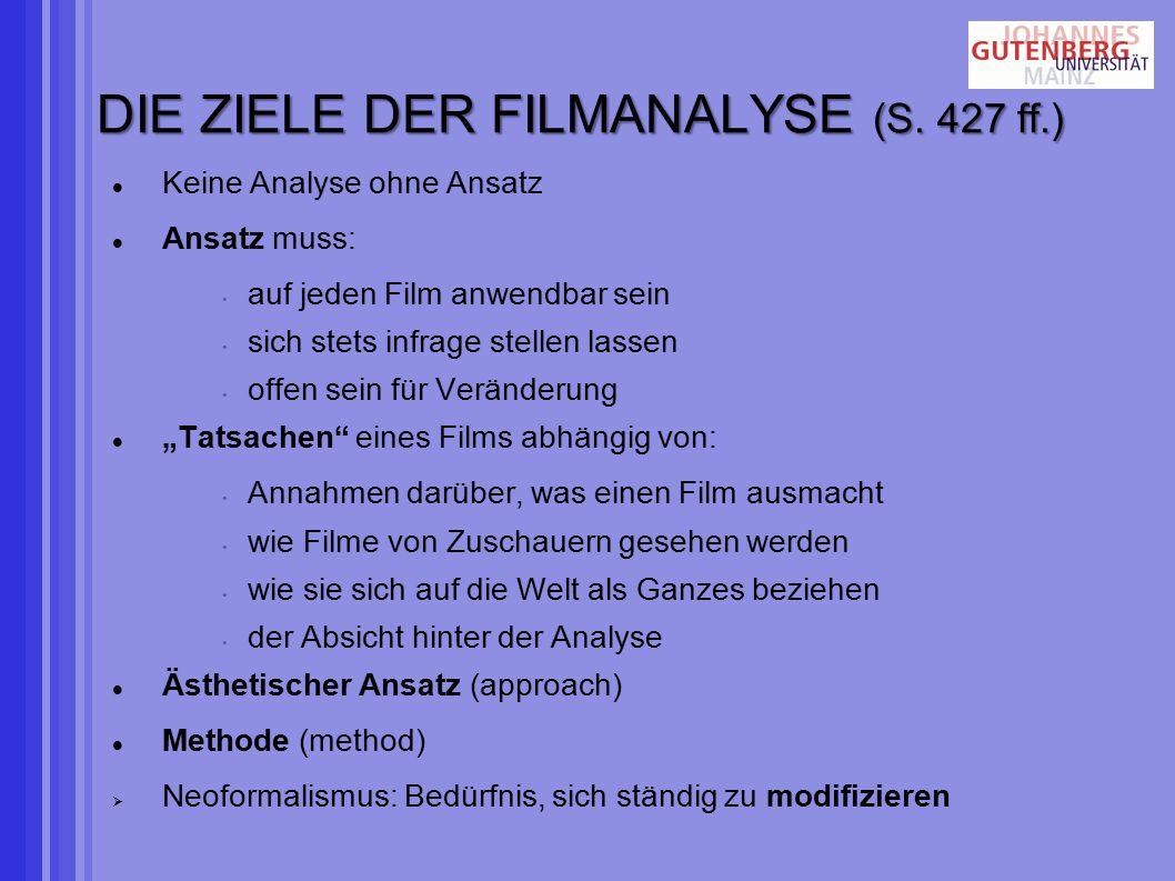 DIE ZIELE DER FILMANALYSE (S. 427 ff.)