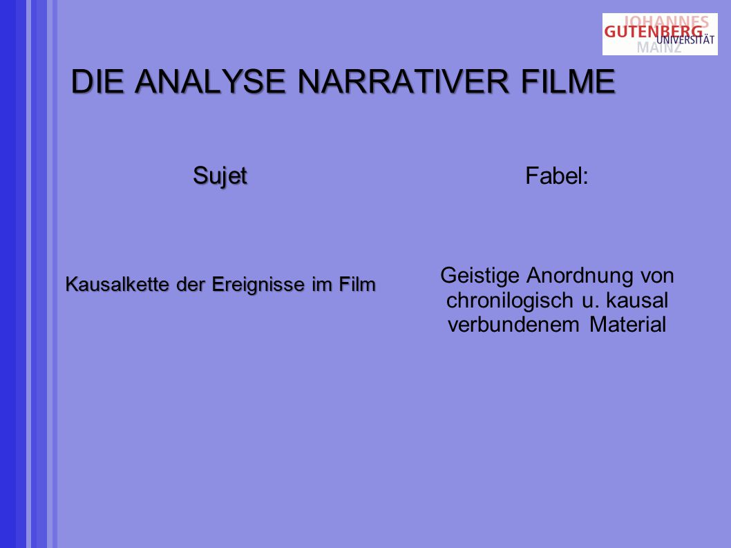 DIE ANALYSE NARRATIVER FILME