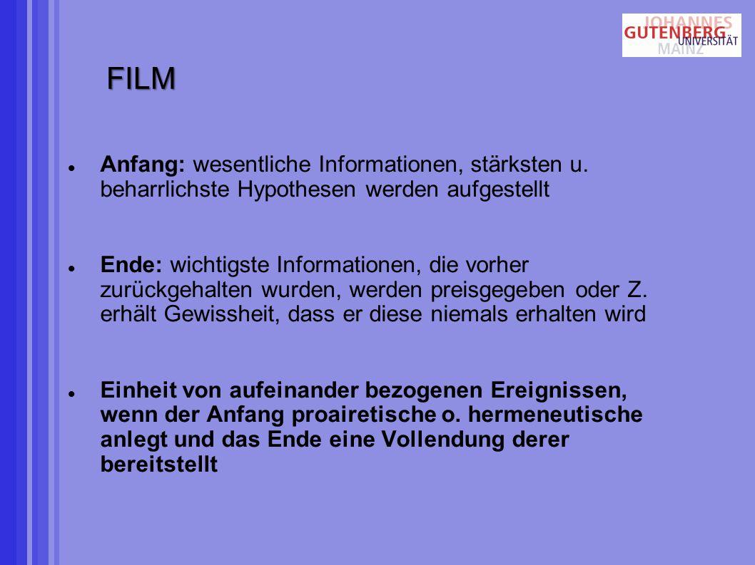 FILM Anfang: wesentliche Informationen, stärksten u. beharrlichste Hypothesen werden aufgestellt.