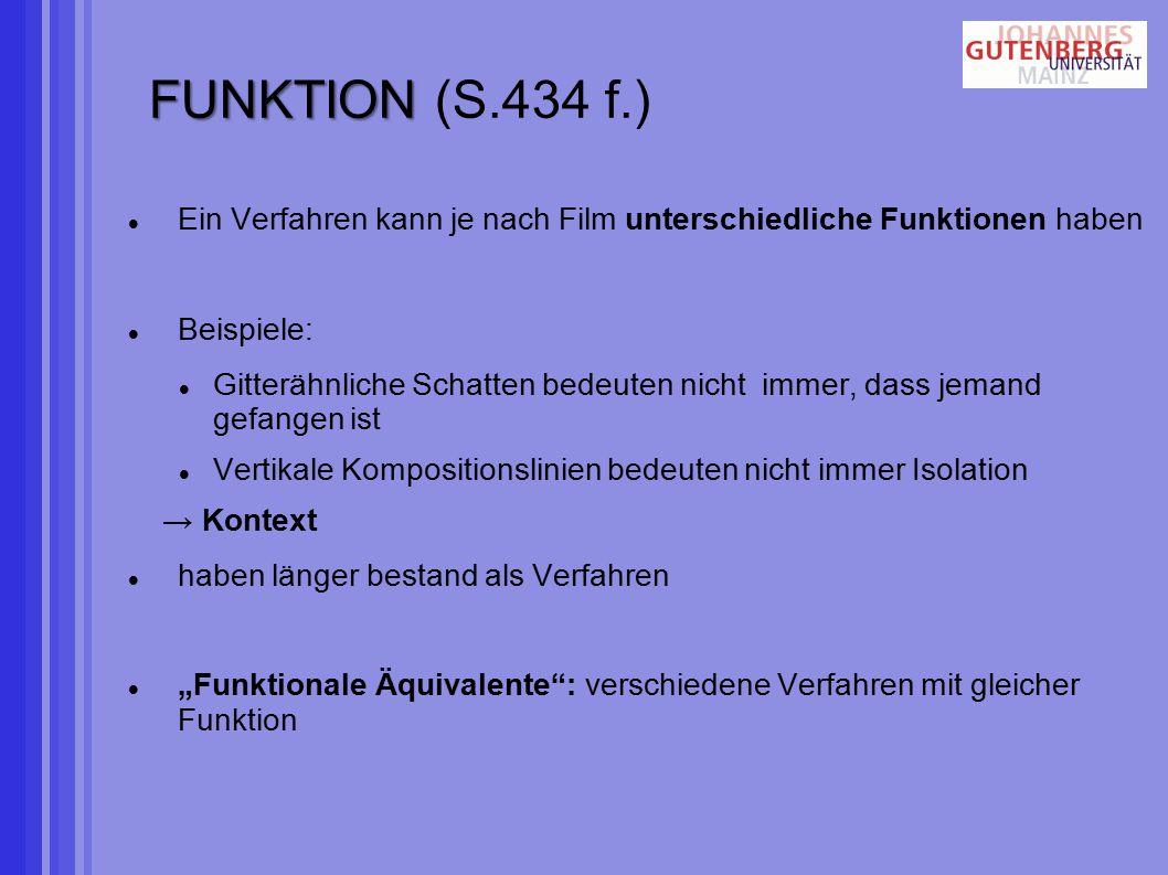 FUNKTION (S.434 f.) Ein Verfahren kann je nach Film unterschiedliche Funktionen haben. Beispiele: