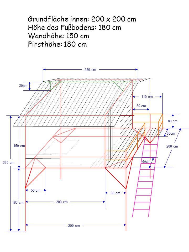 Grundfläche innen: 200 x 200 cm Höhe des Fußbodens: 180 cm