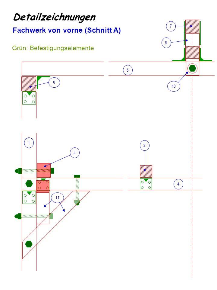 Detailzeichnungen Fachwerk von vorne (Schnitt A)