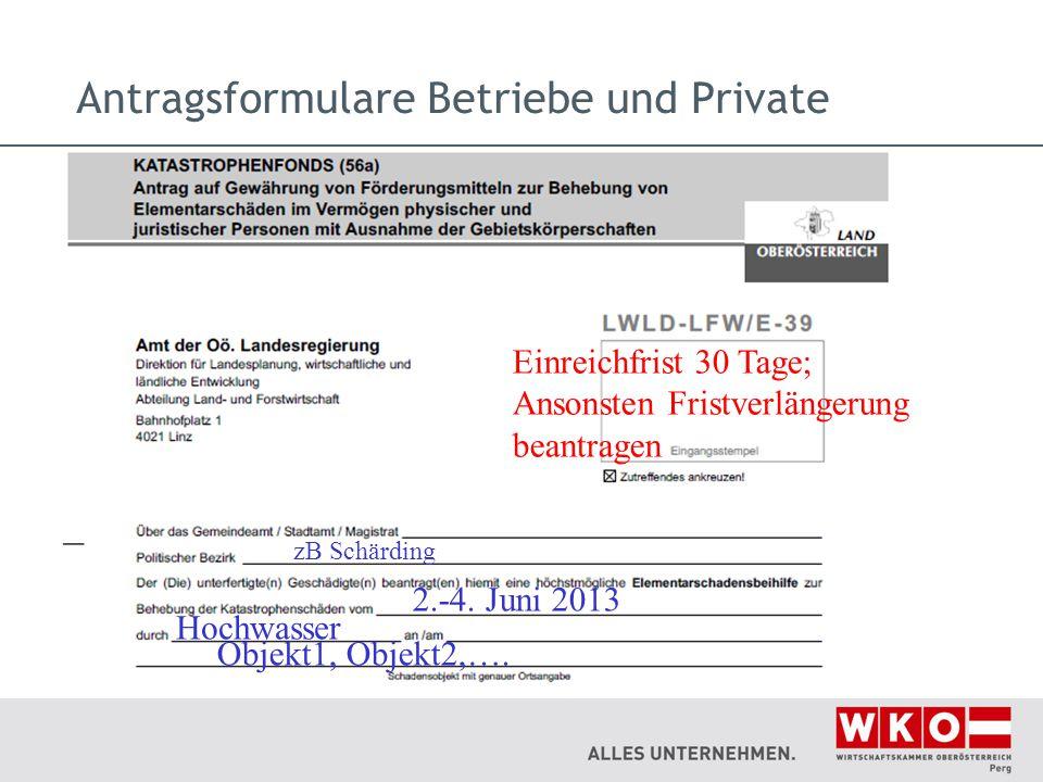 Antragsformulare Betriebe und Private