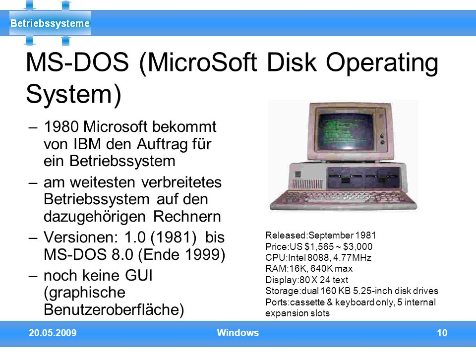 MS-DOS (MicroSoft Disk Operating System)