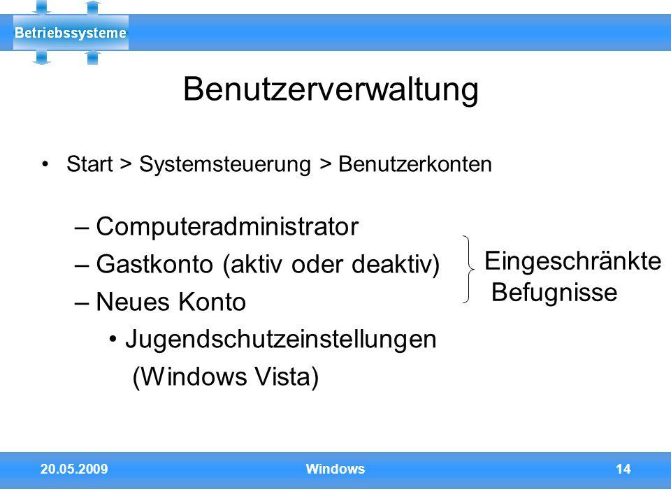 Benutzerverwaltung Computeradministrator