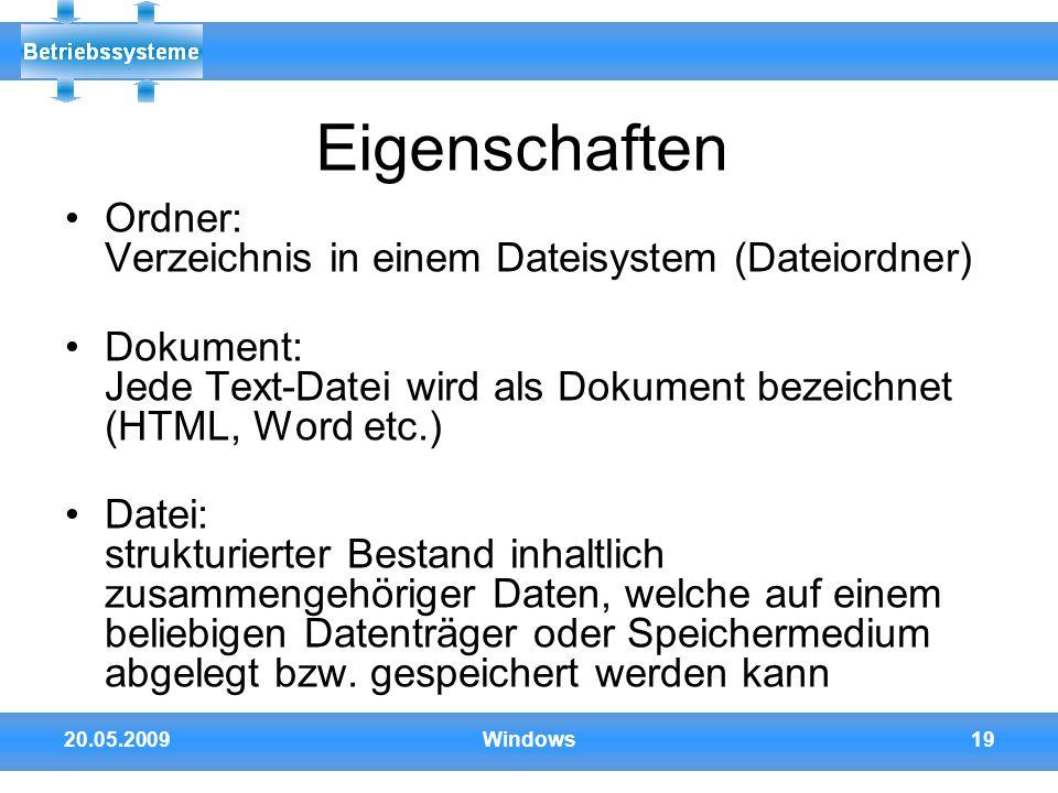Eigenschaften Ordner: Verzeichnis in einem Dateisystem (Dateiordner)