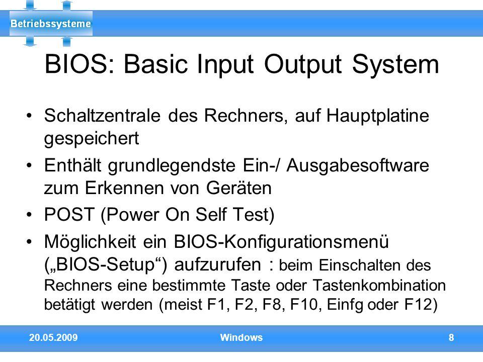 BIOS: Basic Input Output System