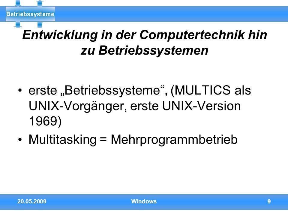 Entwicklung in der Computertechnik hin zu Betriebssystemen
