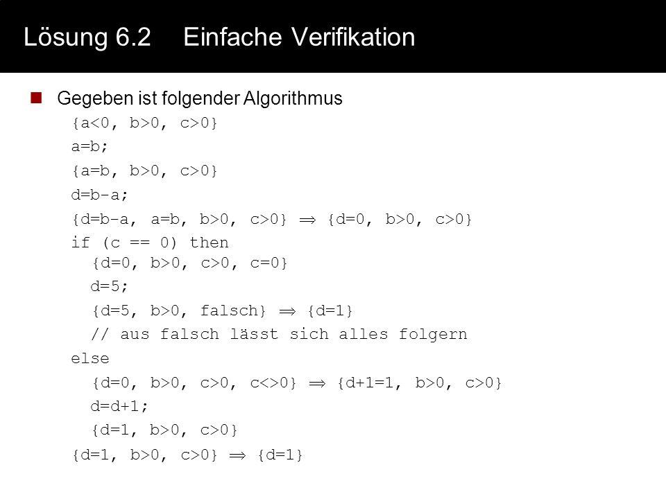 Lösung 6.2 Einfache Verifikation
