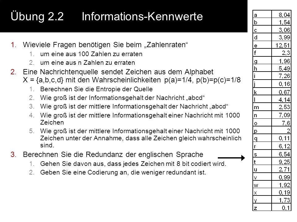 Übung 2.2 Informations-Kennwerte