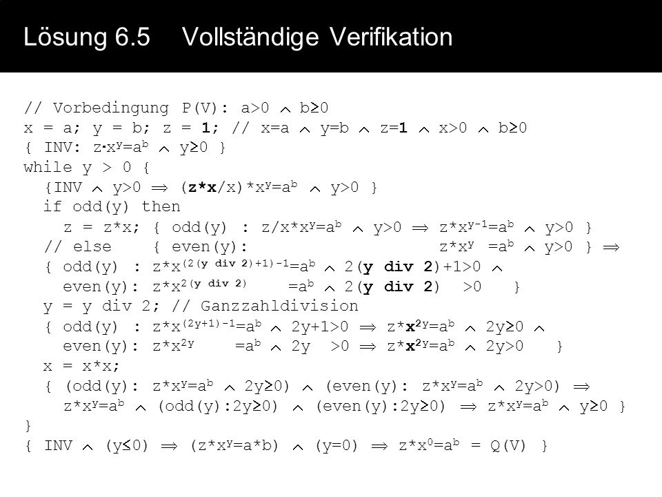 Lösung 6.5 Vollständige Verifikation