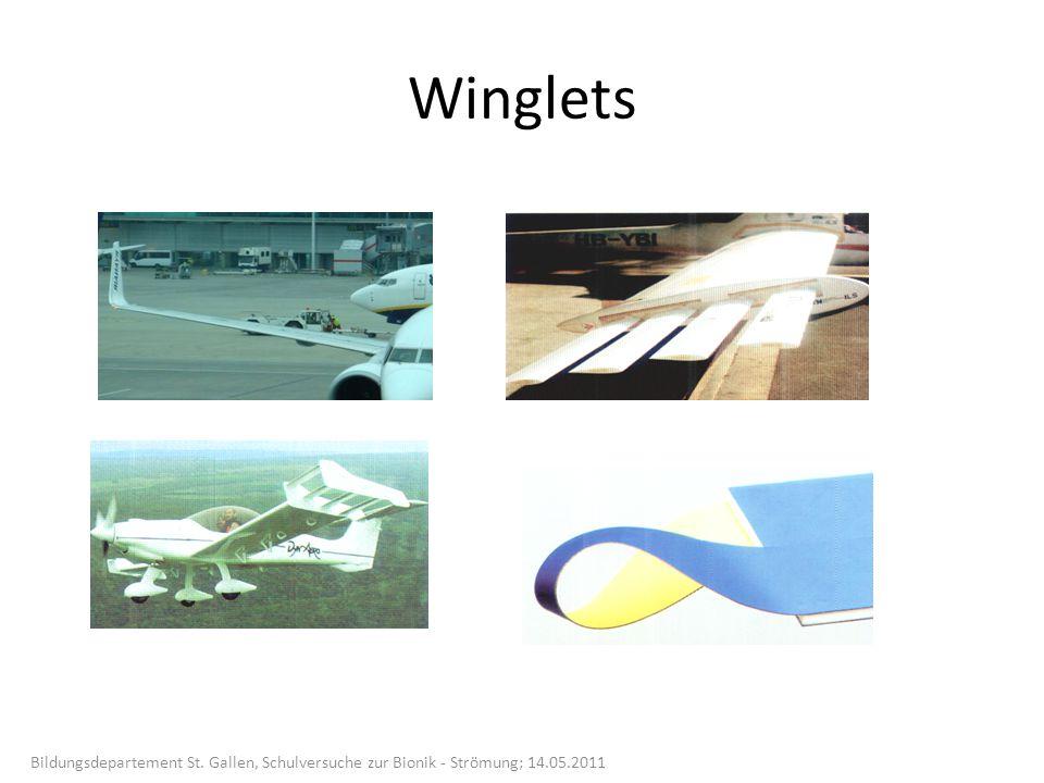 Winglets Bildungsdepartement St. Gallen, Schulversuche zur Bionik - Strömung; 14.05.2011