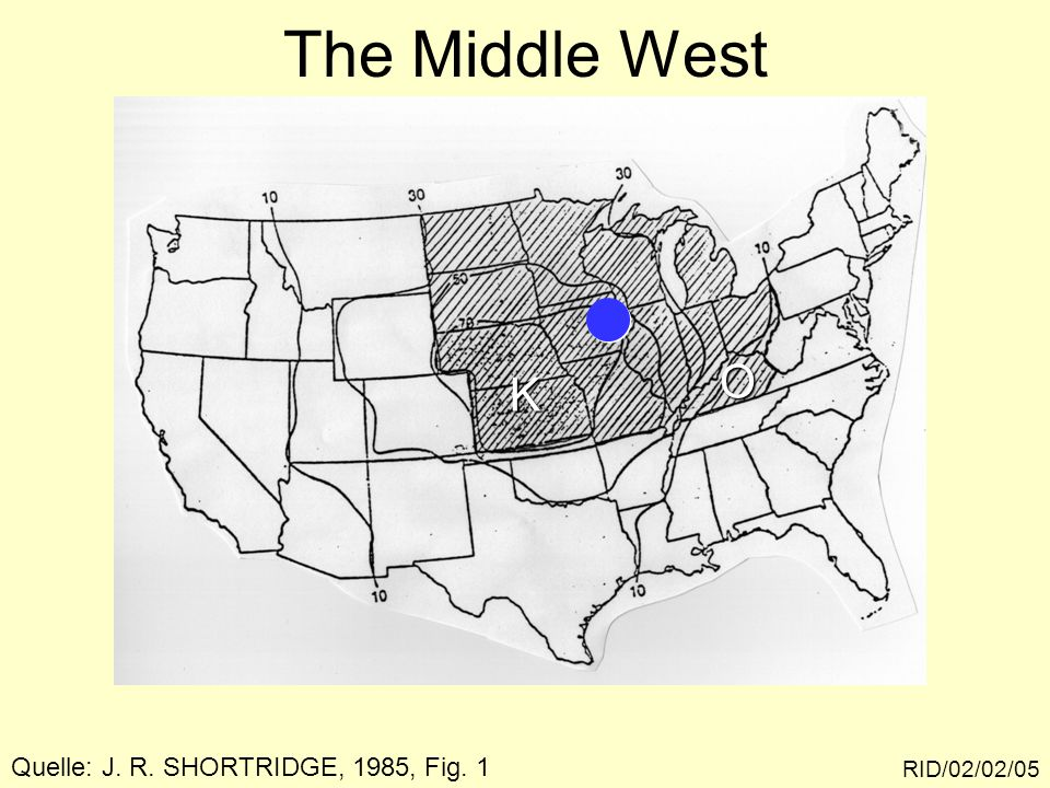 The Middle West O K Quelle: J. R. SHORTRIDGE, 1985, Fig. 1