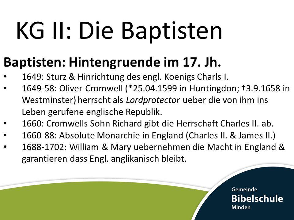 KG II: Die Baptisten Baptisten: Hintengruende im 17. Jh.