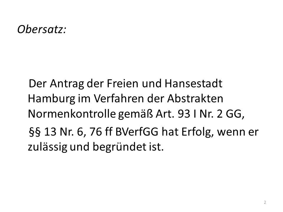 Obersatz: Der Antrag der Freien und Hansestadt Hamburg im Verfahren der Abstrakten Normenkontrolle gemäß Art.