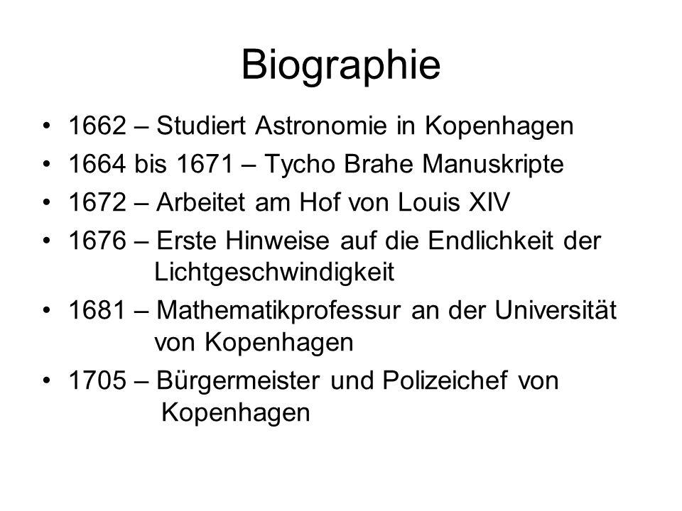 Biographie 1662 – Studiert Astronomie in Kopenhagen