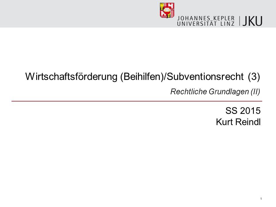 Wirtschaftsförderung (Beihilfen)/Subventionsrecht (3)