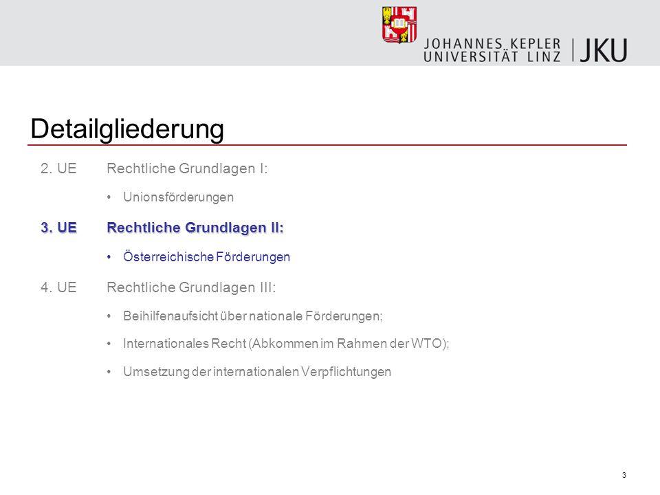Detailgliederung 2. UE Rechtliche Grundlagen I: