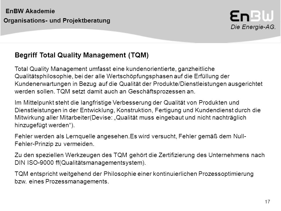 Begriff Total Quality Management (TQM)