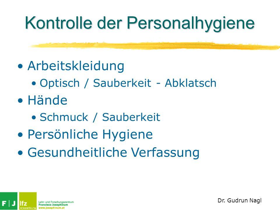 Kontrolle der Personalhygiene