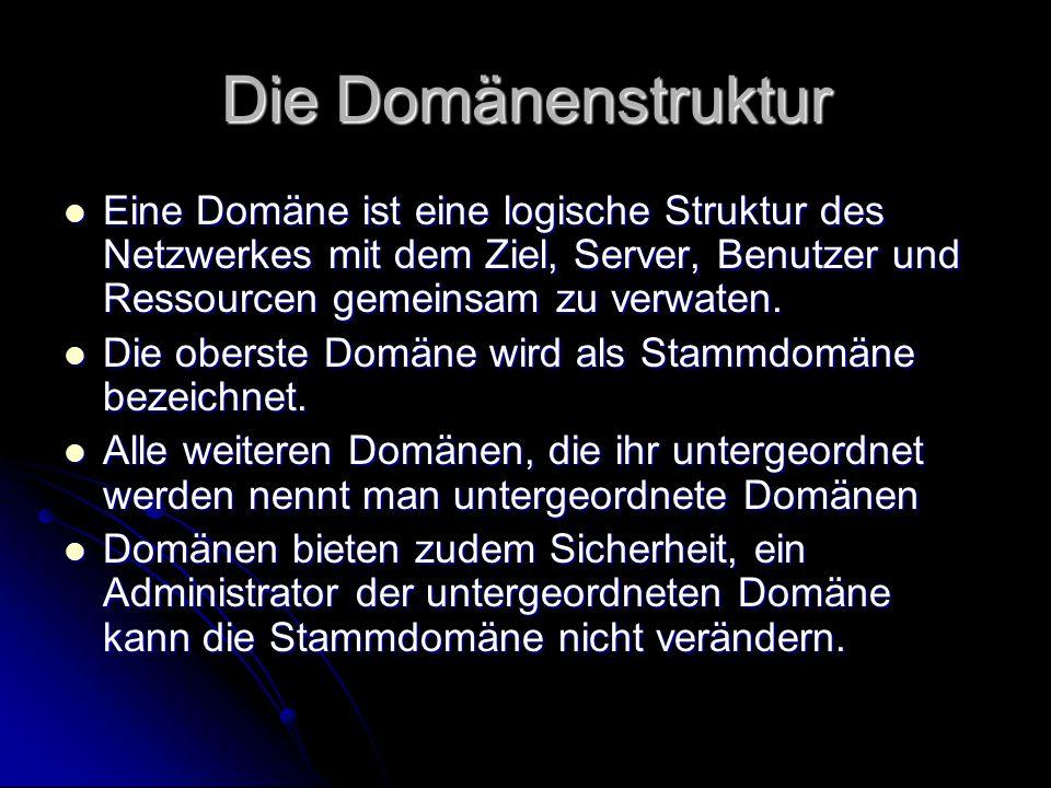 Die Domänenstruktur Eine Domäne ist eine logische Struktur des Netzwerkes mit dem Ziel, Server, Benutzer und Ressourcen gemeinsam zu verwaten.