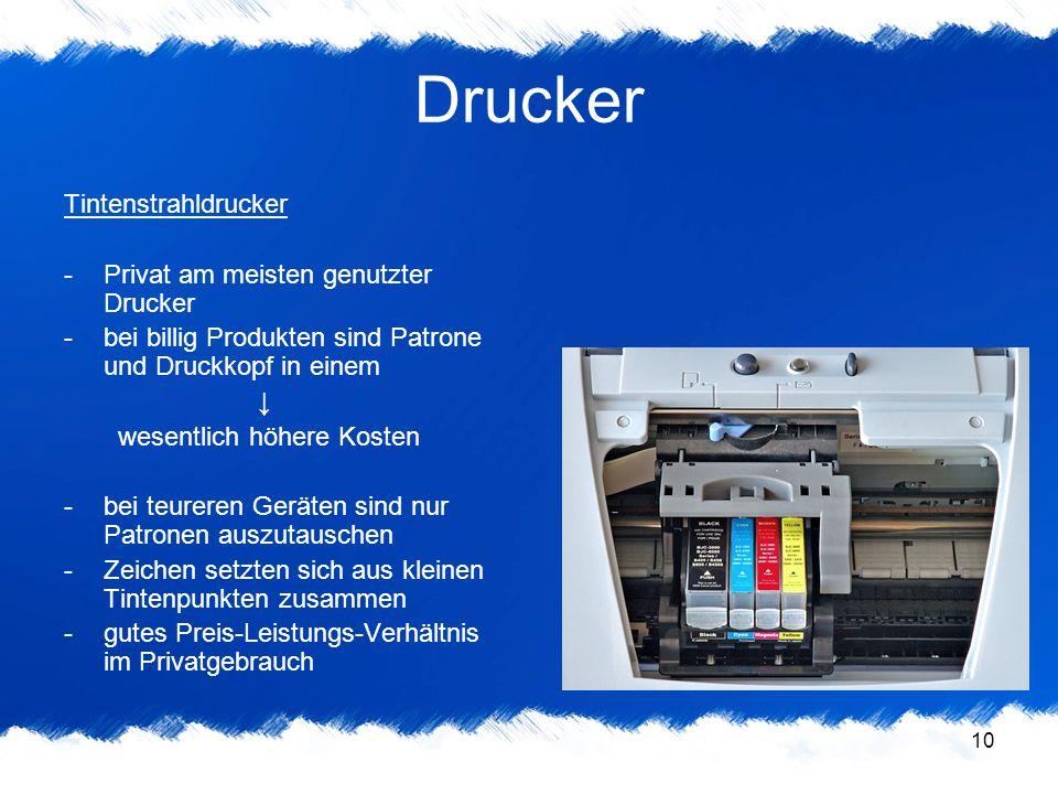 Drucker Tintenstrahldrucker Privat am meisten genutzter Drucker
