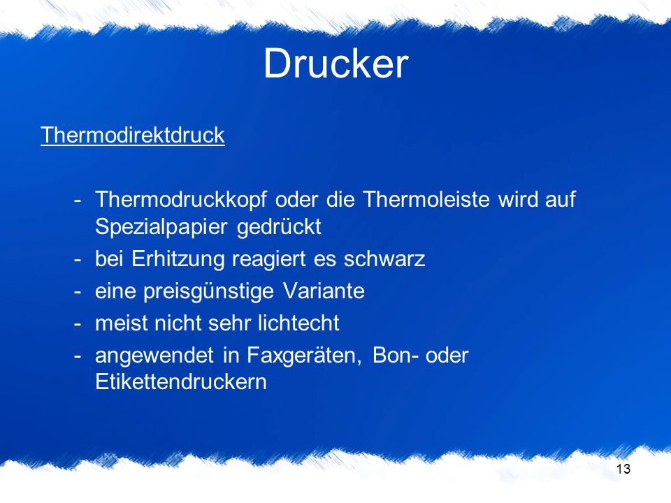 Drucker Thermodirektdruck
