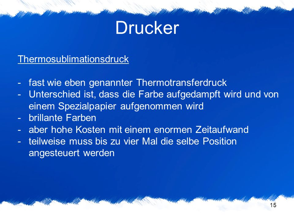 Drucker Thermosublimationsdruck
