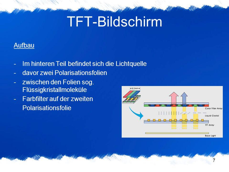 TFT-Bildschirm Aufbau Im hinteren Teil befindet sich die Lichtquelle