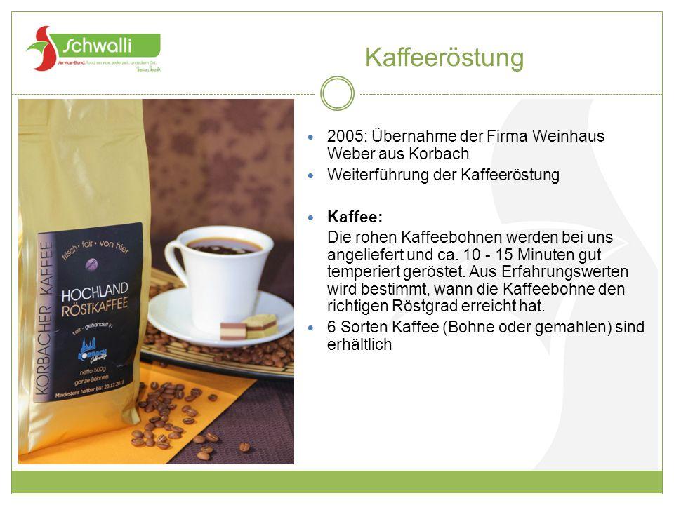 Kaffeeröstung 2005: Übernahme der Firma Weinhaus Weber aus Korbach