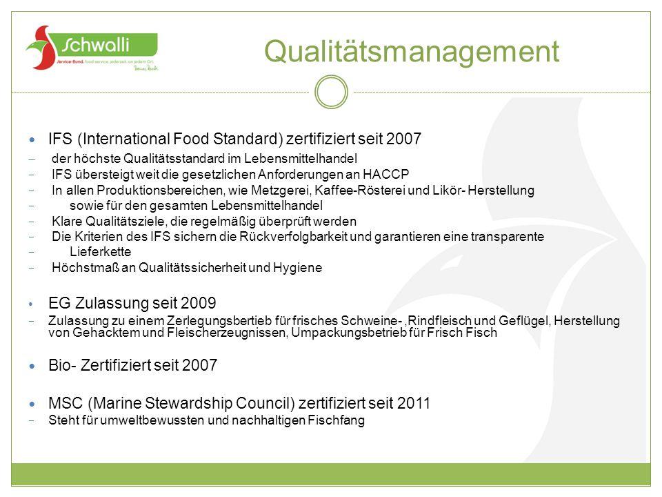 Qualitätsmanagement IFS (International Food Standard) zertifiziert seit 2007. der höchste Qualitätsstandard im Lebensmittelhandel.