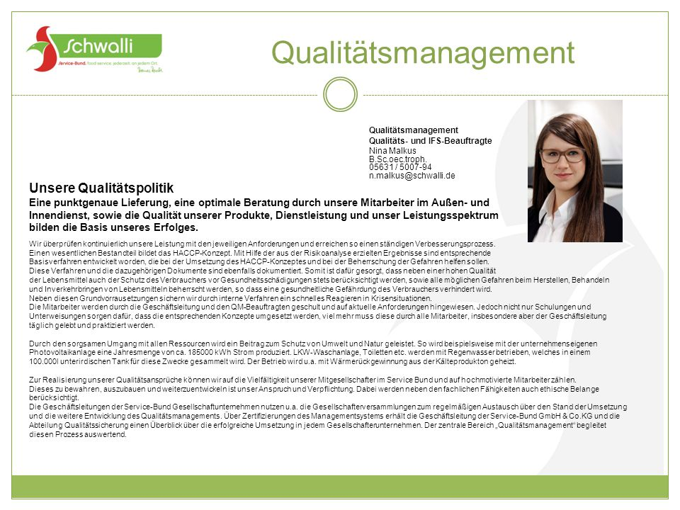 Qualitätsmanagement Unsere Qualitätspolitik