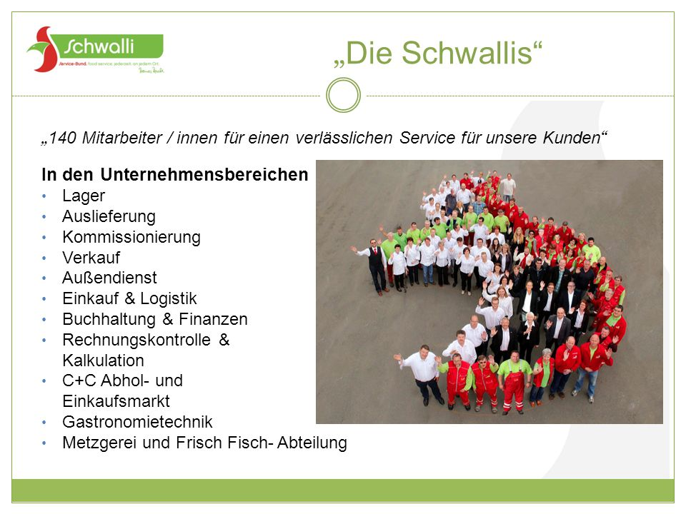 """""""Die Schwallis In den Unternehmensbereichen"""