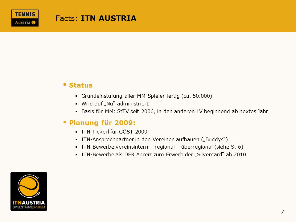 Facts: ITN AUSTRIA Status Planung für 2009: