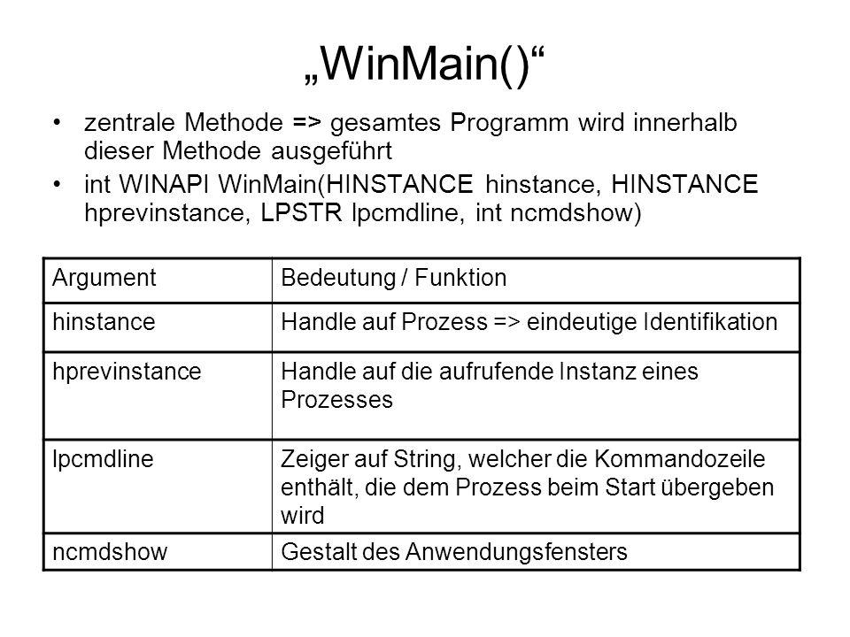 """""""WinMain() zentrale Methode => gesamtes Programm wird innerhalb dieser Methode ausgeführt."""