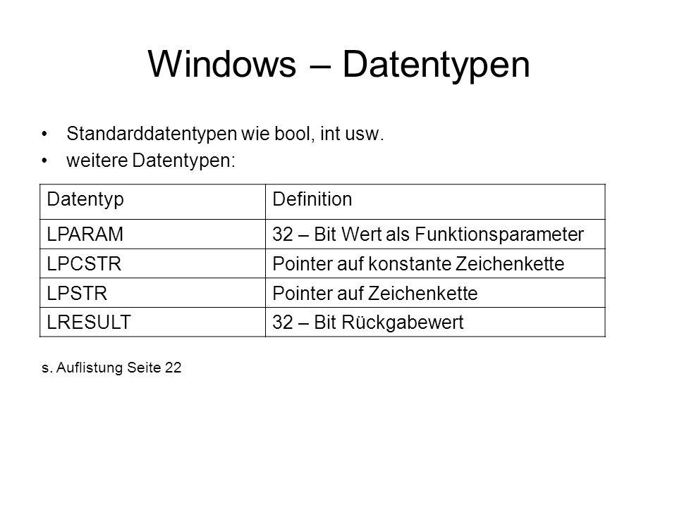 Windows – Datentypen Standarddatentypen wie bool, int usw.