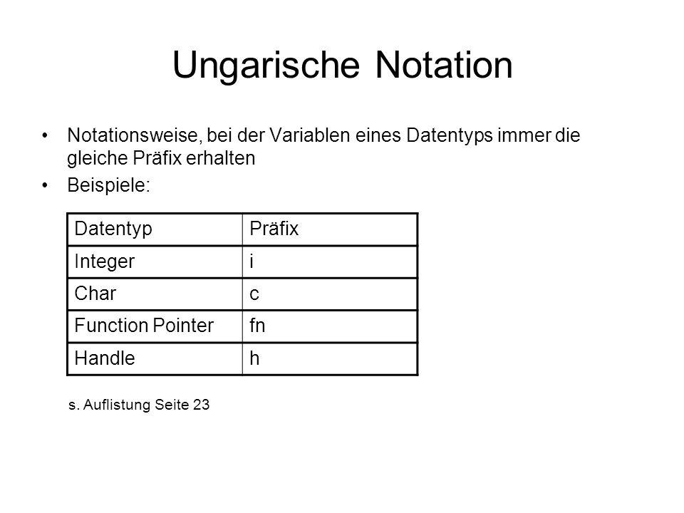 Ungarische Notation Notationsweise, bei der Variablen eines Datentyps immer die gleiche Präfix erhalten.