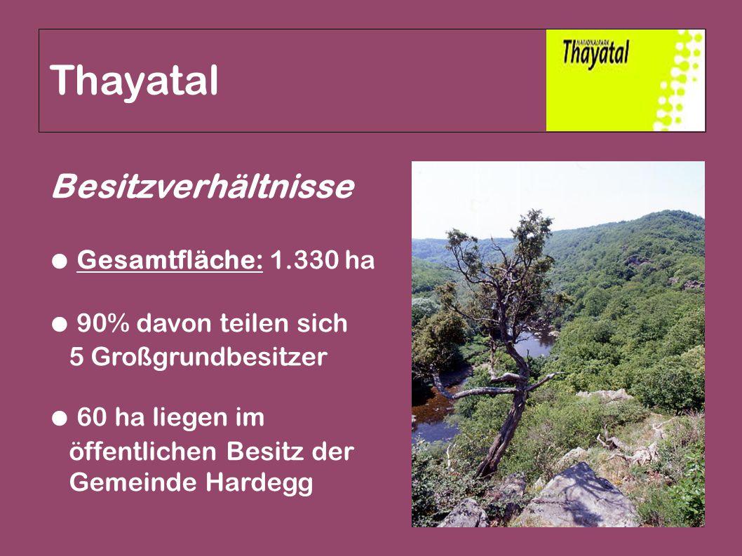 Thayatal Besitzverhältnisse ● Gesamtfläche: 1.330 ha