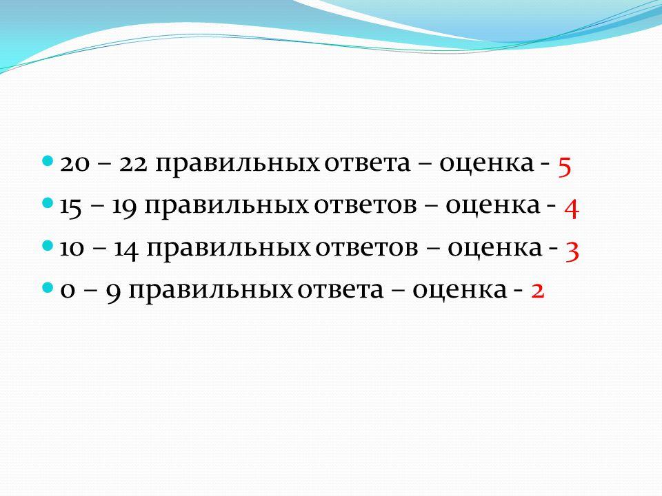 20 – 22 правильных ответа – оценка - 5