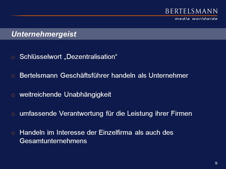"""Unternehmergeist Schlüsselwort """"Dezentralisation"""