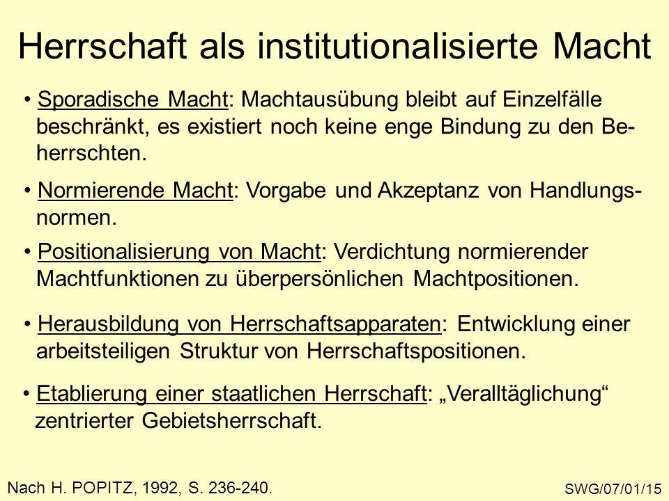 Herrschaft als institutionalisierte Macht