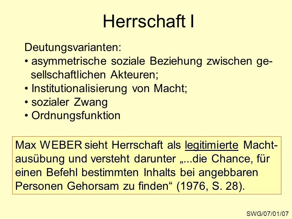 Herrschaft I Deutungsvarianten: