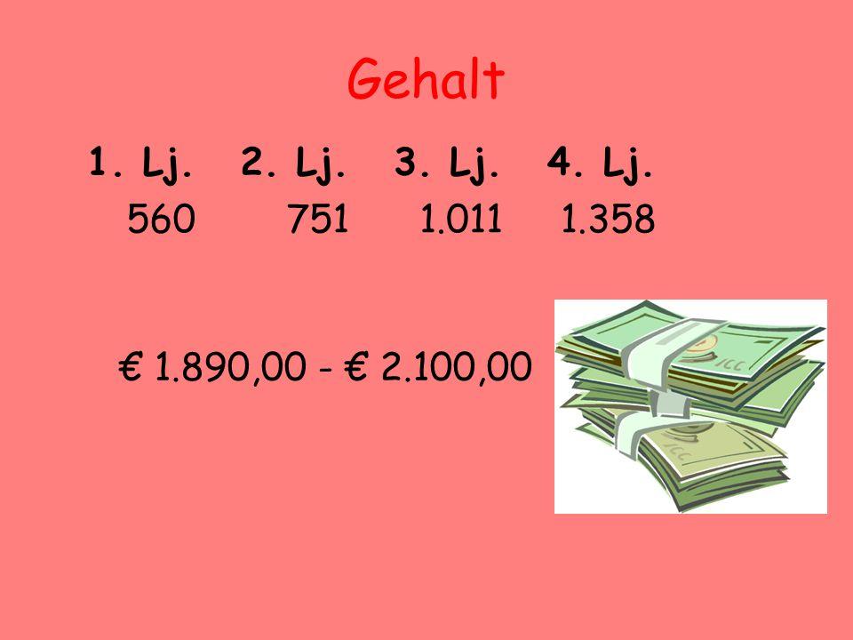 Gehalt 1. Lj. 2. Lj. 3. Lj. 4. Lj. 560 751 1.011 1.358 € 1.890,00 - € 2.100,00