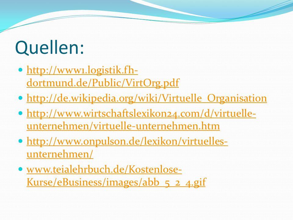 Quellen: http://www1.logistik.fh-dortmund.de/Public/VirtOrg.pdf