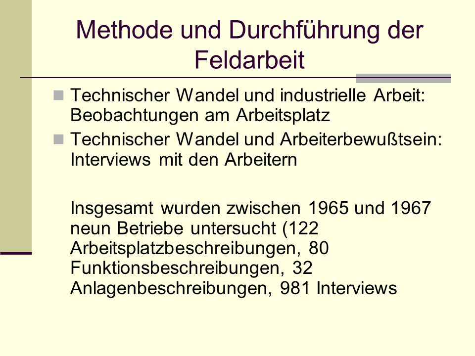Methode und Durchführung der Feldarbeit