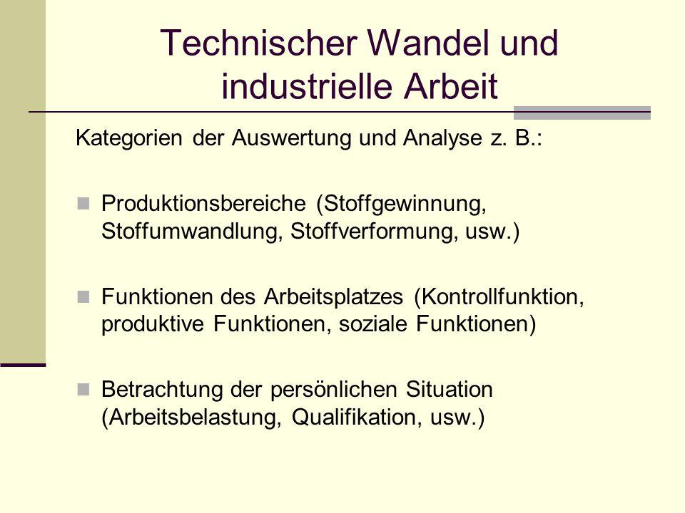 Technischer Wandel und industrielle Arbeit