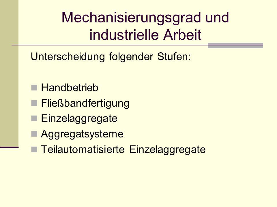Mechanisierungsgrad und industrielle Arbeit