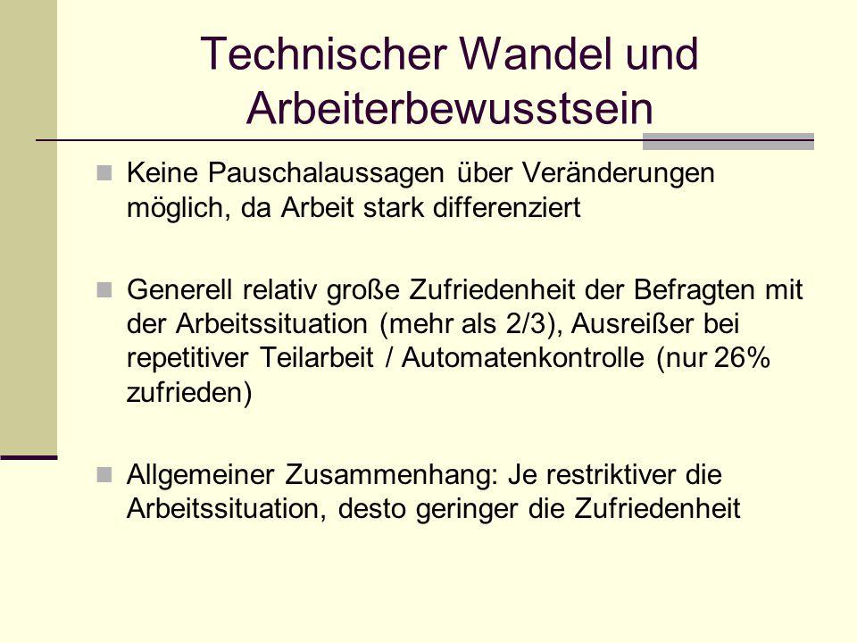 Technischer Wandel und Arbeiterbewusstsein