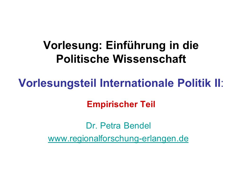 Dr. Petra Bendel www.regionalforschung-erlangen.de